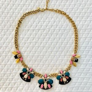 Gold, Pink, Cream & Teal JCrew Statement Necklace